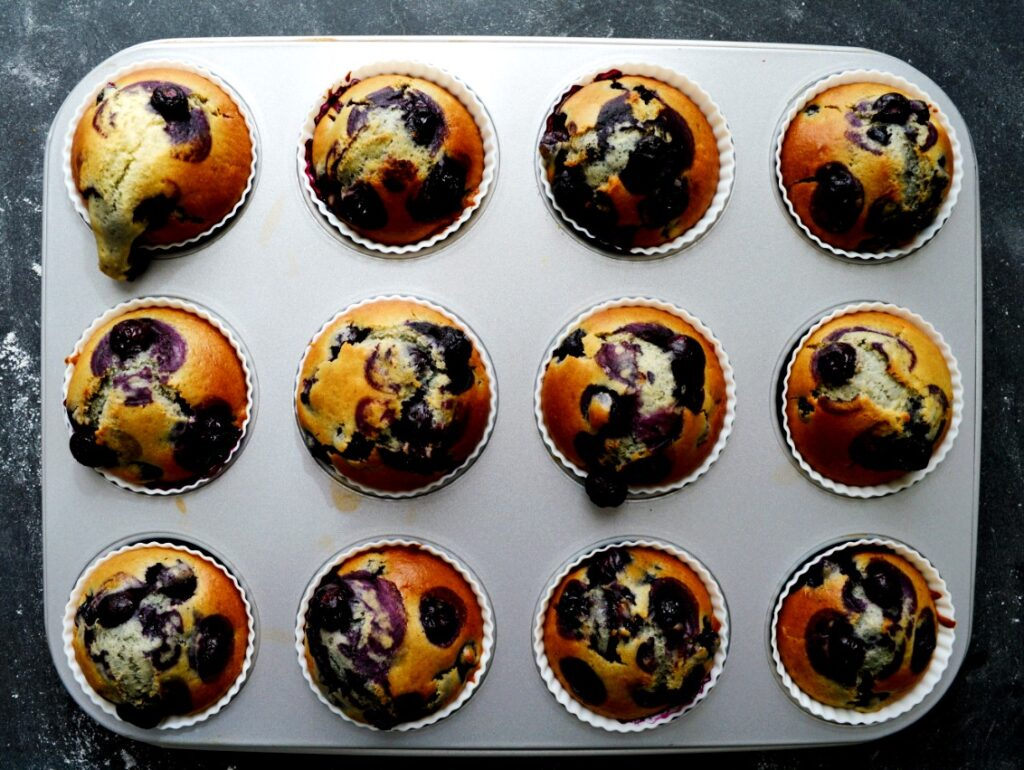 veganske blåbær muffins