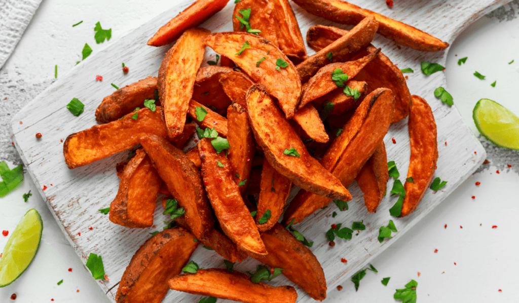 vegansk grill - søde kartoffel fritter