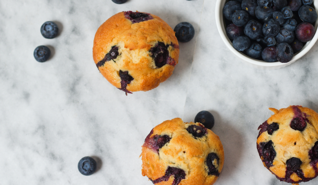 sukkerfri veganske blåbær muffins